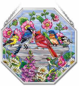 "AMIA STAINED GLASS SUNCATCHER 15"" X 15"" OCTAGON PANEL SPRING FLING BIRDS #41756"