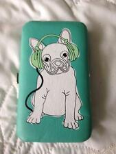 iPhone 5 Case W/4 Card Slot Holders and Paper Money Pocket Aqua Green Dog Lovers