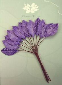 VELVET-Leaves-PURPLE-18x33mm-x-12-Leaves-with-Wire-stems-Green-Tara