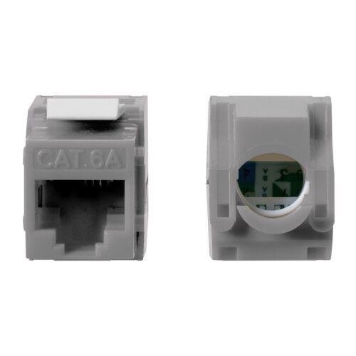 10x Cat6A RJ45 Network LAN Ethernet Keystone Jack Tool Less 180 Degree 8P8C Gray