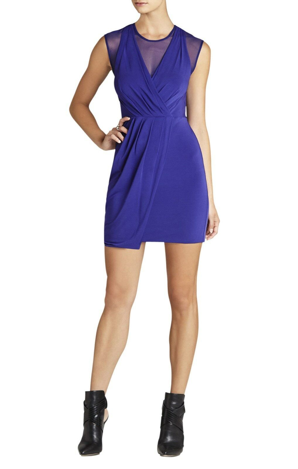NEW BCBG MAX AZRIA blueE BRENNA SHEER INSET RUCHED DRESS NYC66B82 AM533 SIZE XS