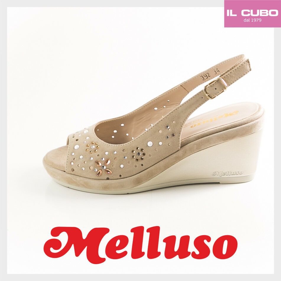 MELLUSO SANDALO SCARPA DONNA H CAMOSCIO COLORE CORDA ZEPPA H DONNA 7,5 NEW SHOES b30df7
