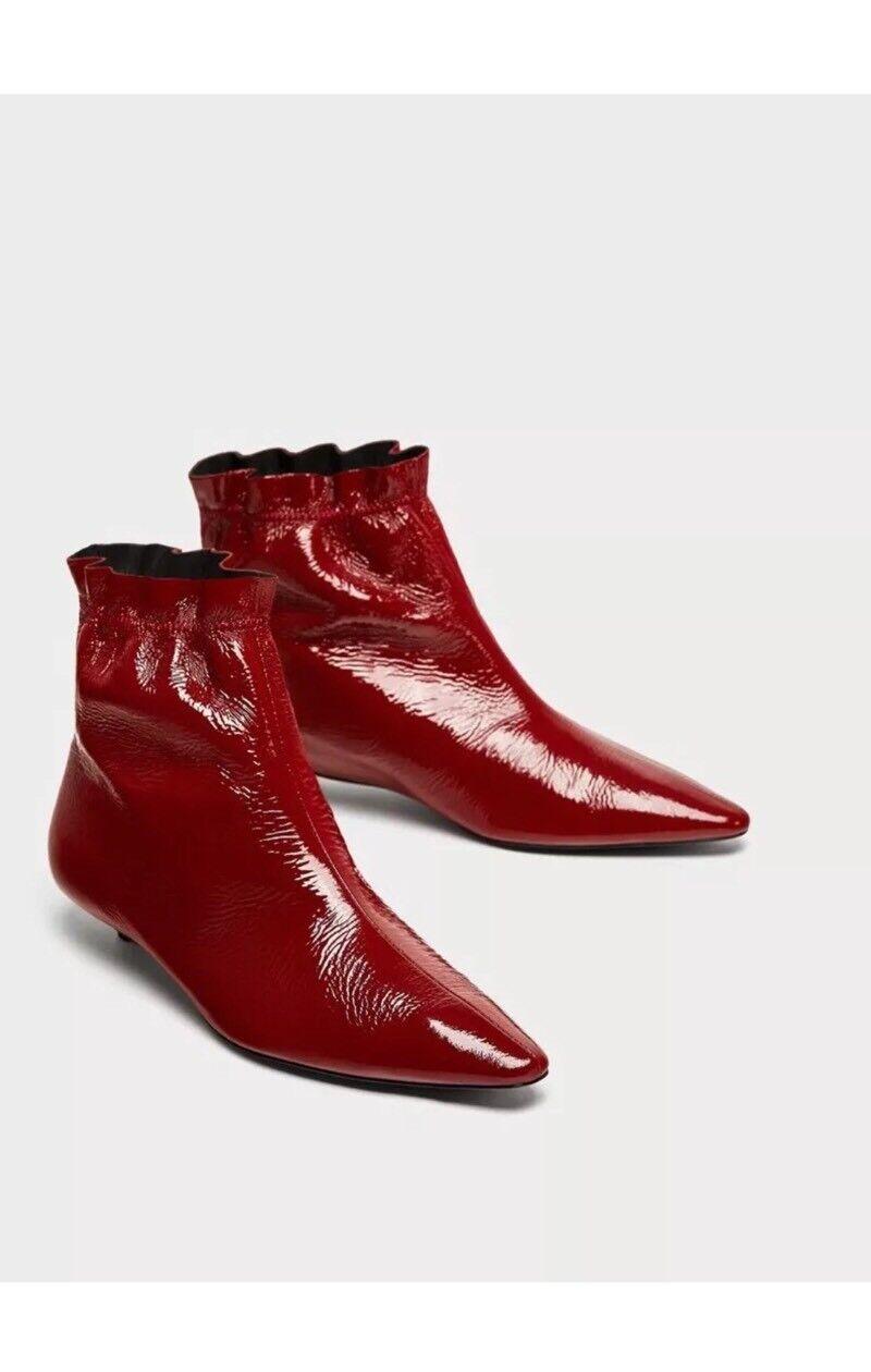Zara Dark Red Burgundy Patent Leather Flat Kitten Heel Ankle Boots