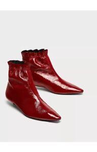 12c46c58cd6 Details about Zara Dark Red Burgundy Patent Leather Flat Kitten Heel Ankle  Boots UK 5 UK 38