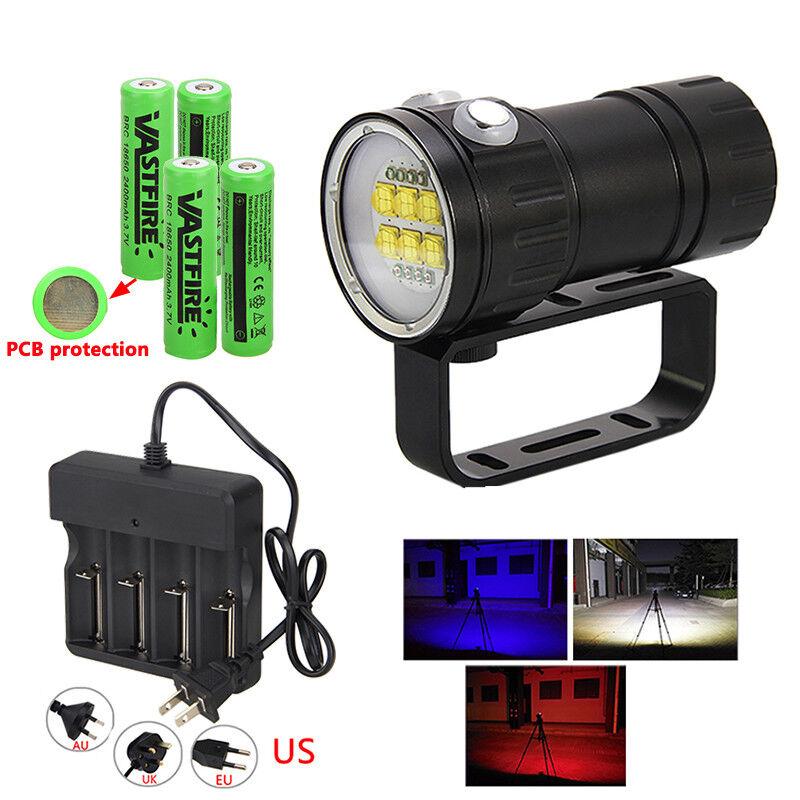 Fotografie 28800LM Dive Video Video Video Lampe 120° Rot Blau Tauche Tauchlampe 18650 Licht 36d189