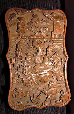 antique chinese carved wooden calling card case double sided immortals signed