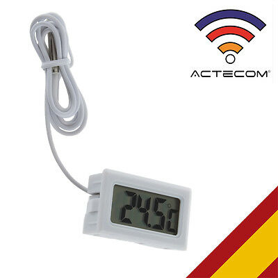 ACTECOM/® Term/ómetro Digital Nevera con Sonda empotrable Blanco