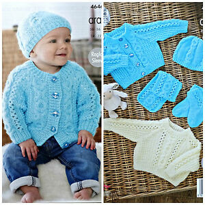 92c13f165 Baby KNITTING PATTERN Babies Cable Cardigan Jumper Scarf  Hat Aran ...