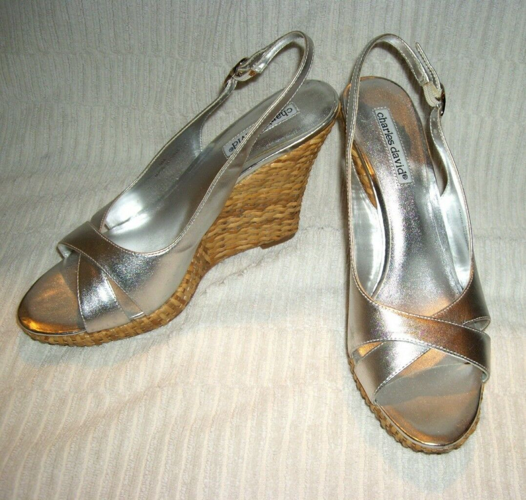 CHARLES DAVIDMetallic argent Leather Peep Toe Classic Wedge chaussures 9 M