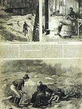 Canada Lake Muskoka GOLD MINING MINERS Free District 1878 Print Matted and Story
