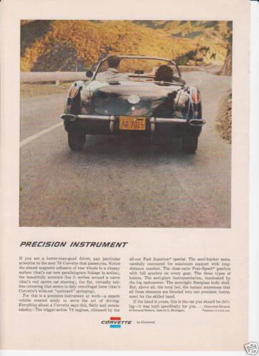 original GM AD /'59 CORVETTE by CHEVROLET 1959 CONVERTIBLE PRECISION VETTE