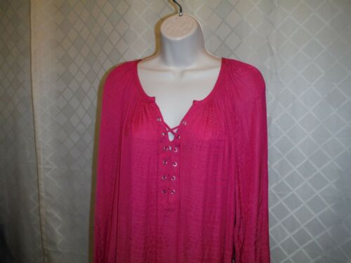 Long Sleeve Blouses Size Plus 3X,2X,JLO Pink /& Blue 100/% polyester NWT