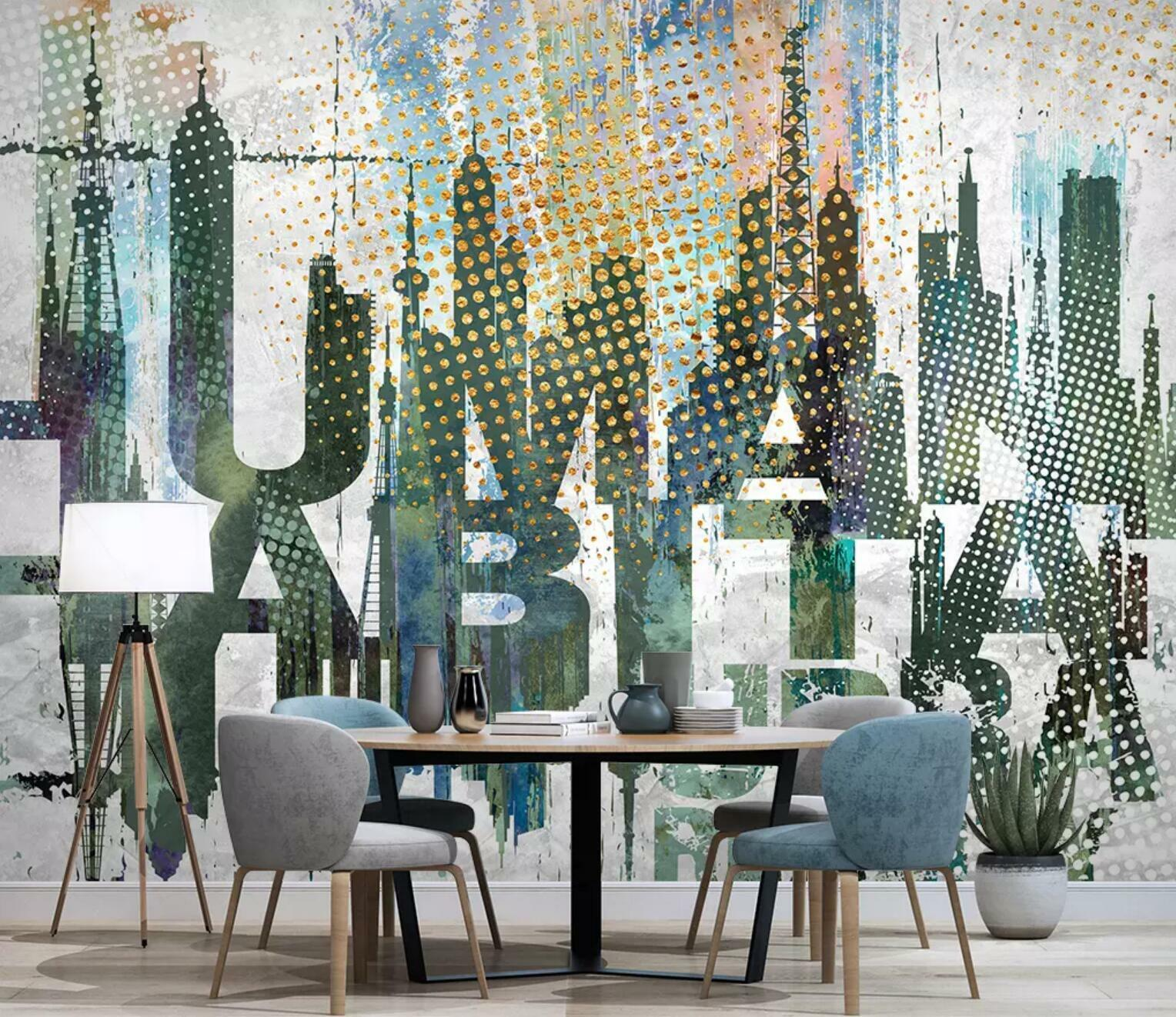 3D Uppercase Letter 31 Wall Paper Exclusive MXY Wallpaper Mural Decal Indoor