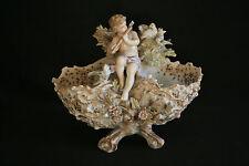 ancien vide poche panier porcelaine allemande ange musicien aux oiseaux XIX ème