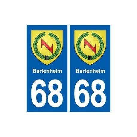 68 Bartenheim blason autocollant plaque stickers ville arrondis