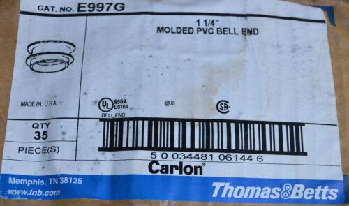 Box 35 Carlon Conduit 1-1//4 Inch PVC End Bell 93172350 E997G