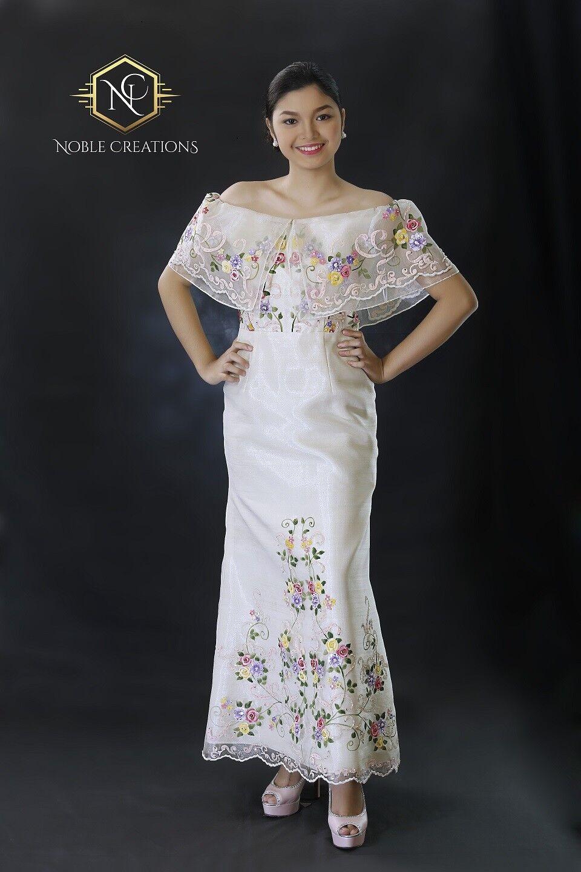 Vestido Filipiniana  pintado a mano y logotipo bordado vestido de Maria Clara sin hombros  sorteos de estadio