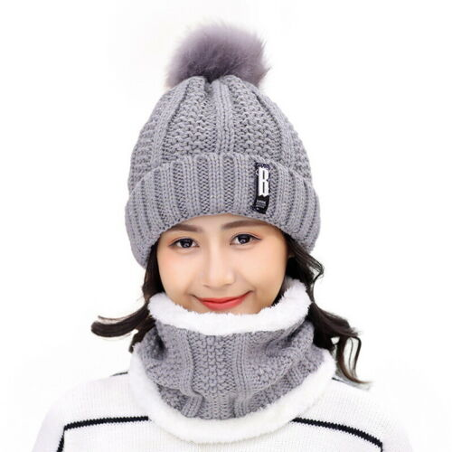 Womens Winter Baggy Slouchy Knit Warm Beanie Hat and Scarf Ski Skull Cap Set USA