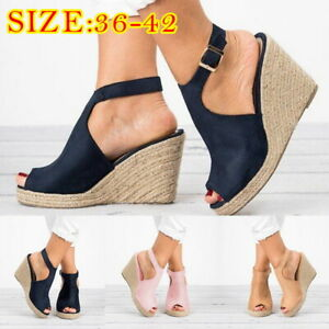 5536503c3e426 Details about UK Women Lady Velvet Wedges Espadrille Sandals Ankle Buckle  Peep Toe Beach Shoes
