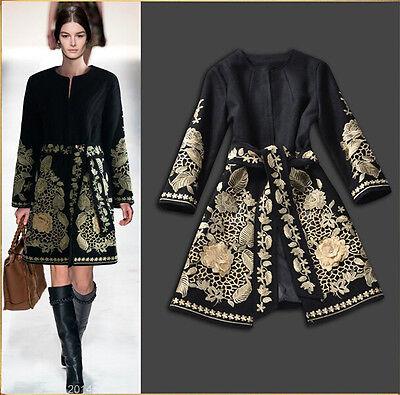 Winter Women Runway Retro Golden Embroidery Woolen Blend Coat lady Trench Jacket