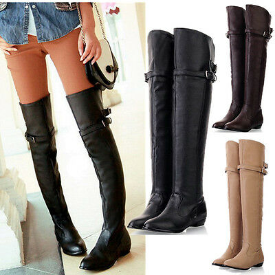 2016 Women's Thigh High Long Boots Over The Knee Leather Warm Flats Bucket Shoes