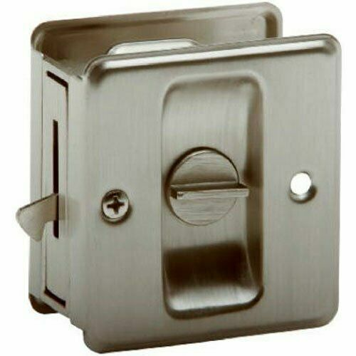 2 SCHLAGE LOCK SC991B-619 Sliding Pocket Door Lock Satin Nickel finish Brass