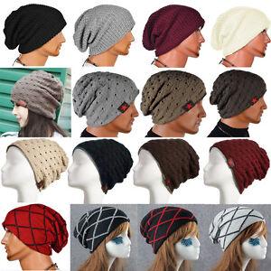 f204dcd0e9 Men's Women Unisex Knit Baggy Beanie Winter Hat Ski Slouchy Cap ...