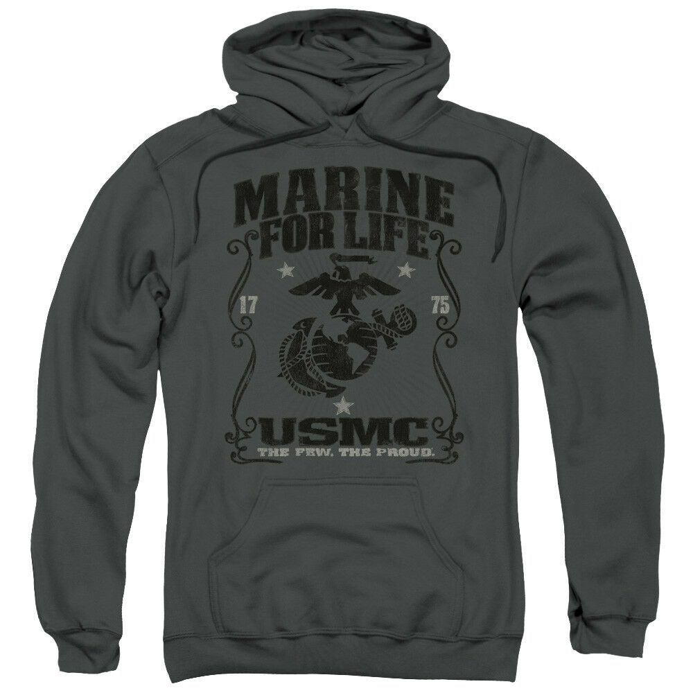 US Marine For Life USMC Charcoal Adult Hoodie Hoody