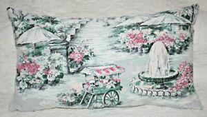 Vintage-Victorian-Park-Flowers-Cart-and-Fountain-Cotton-Barkcloth-Lumbar-Pillow