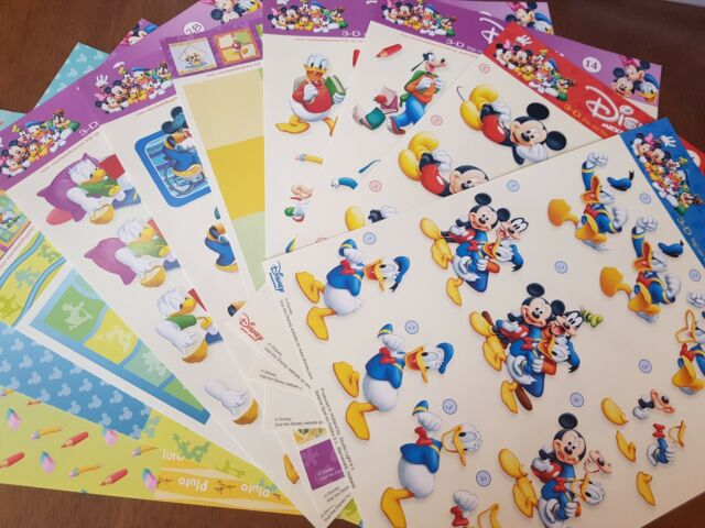 DISNEY Characters 3D Decoupage Sheets Card Paper Crafts *CUTTING REQUIRED*
