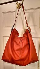 Cole Haan -Orange Pebbled Leather Nickle Hobo Large Purse Carryall Hobo Bag EUC!