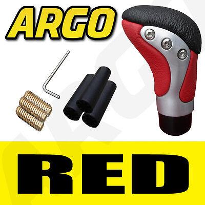 Red Black Chrome Leather Gear Shift Stick Lever Knob Peugeot 307