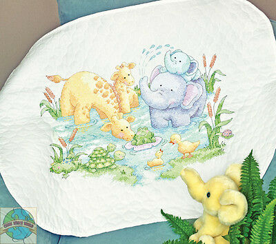 Cross Stitch Kit ~ Dimensions Little Pond Cute Animals Baby Quilt #70-73924
