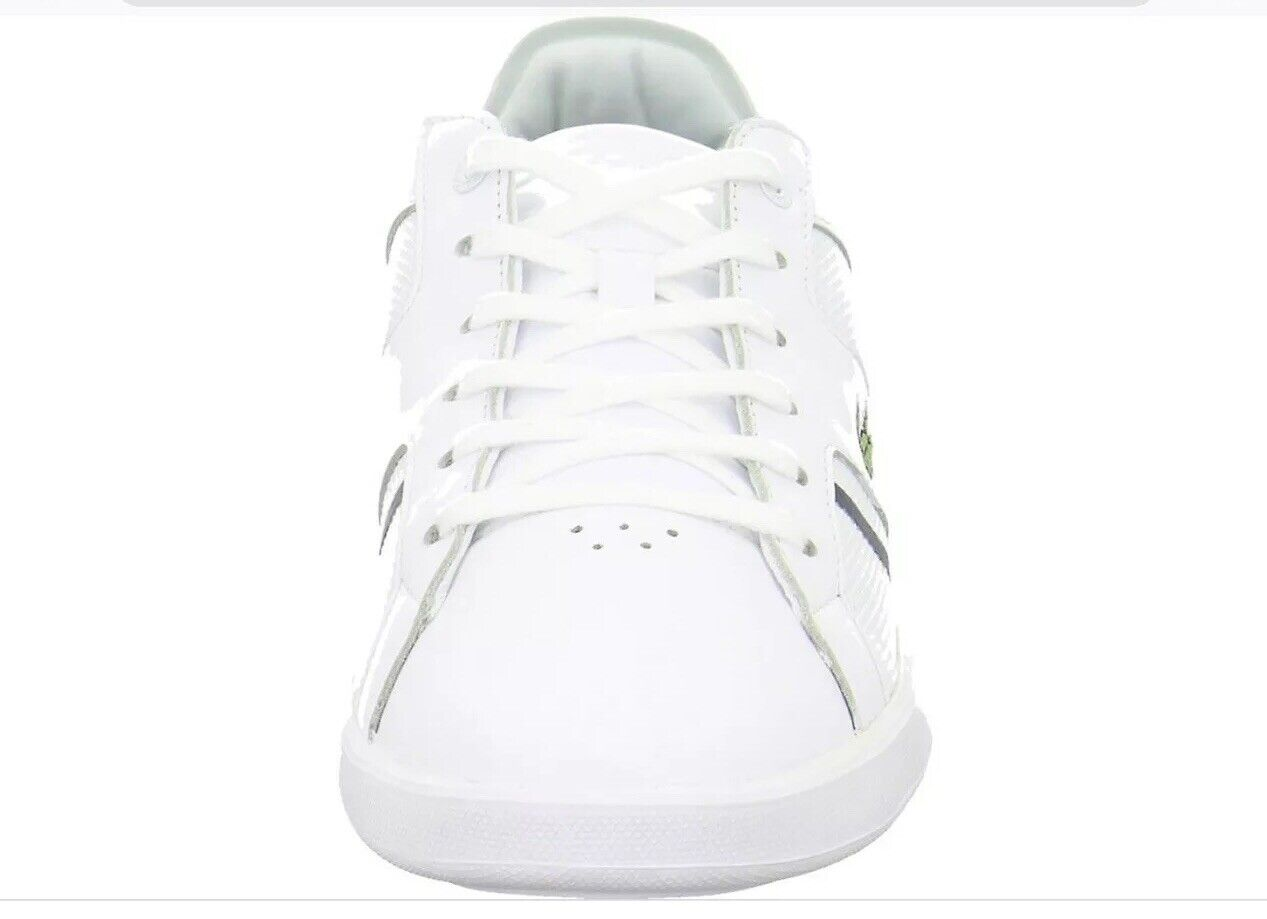 Lacoste Men's White Novas Leather Trainers Sneakers Shoes NEW