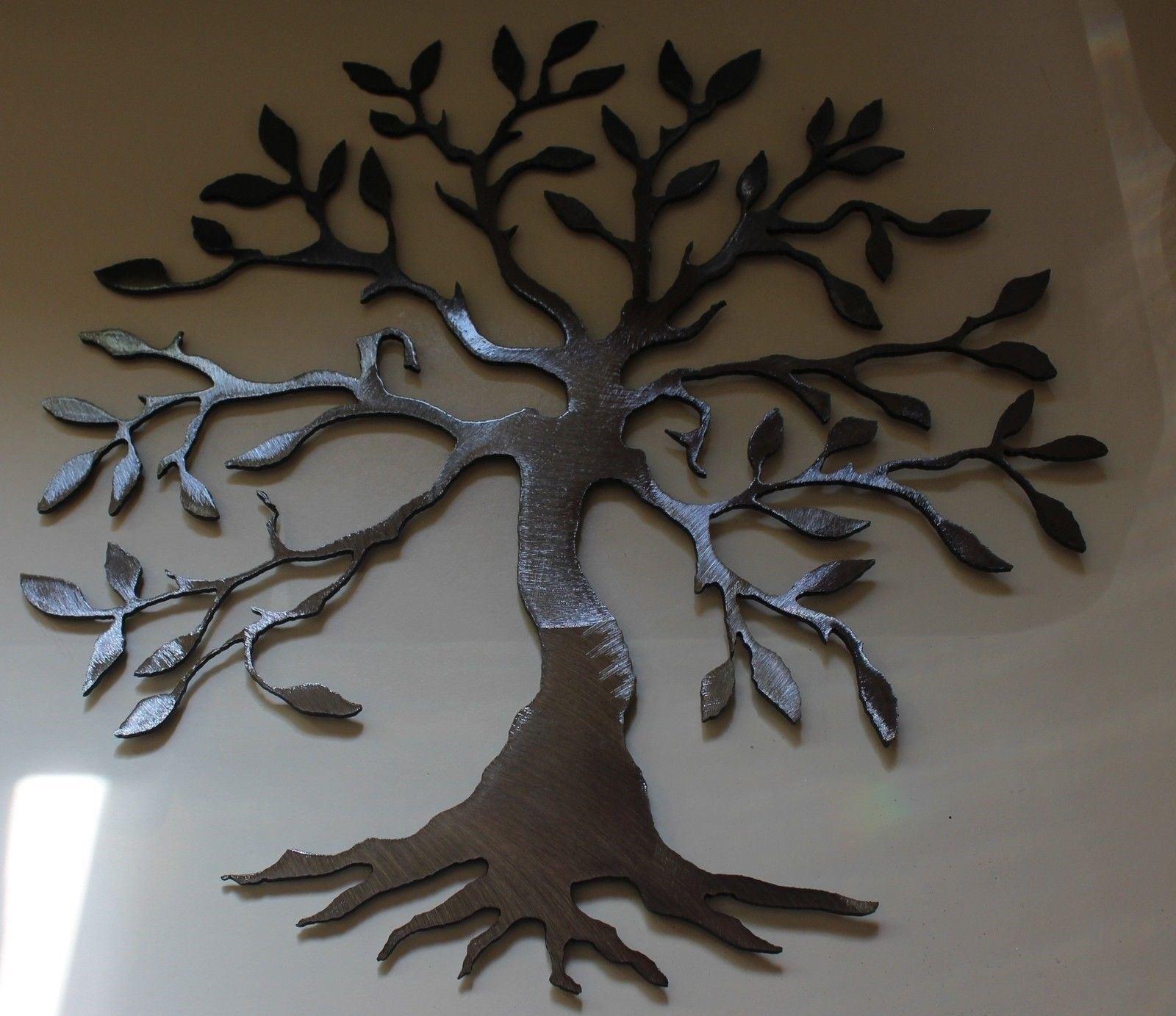 Olive Tree Baum des Lebens Silber 40   Metall Wandkunst Dekor