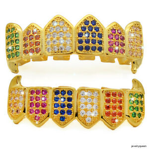 Rainbow-Grillz-Gold-Tone-Multi-Color-CZ-Bling-Top-amp-Bottom-Teeth-Grill-Set