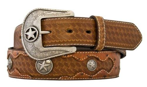 """Men/'s Embossed Ostrich Print with Conchos 1-1//2/"""" Peanut Brittle **-MSRP $38.99"""