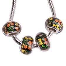 150pcs Wholesale Flower Pattern Silvery Core Charm European Beads Fit Bracelet J