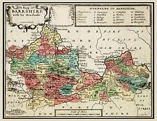 MAP 17TH CENTURY HOLLAR BERKSHIRE HUNDREDS ENGLAND REPLICA POSTER PRINT PAM0246