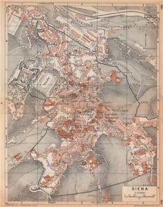 Siena Vintage Town City Map Plan Pianta Della Citta Italy 1958 Old