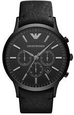 Emporio Armani Sportivo AR2461 Wrist Watch for Men XL 46mm All Black Leather NIB