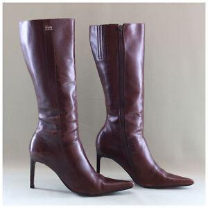 Buffalo Stiefel Gr. 38 High Heels Stiefel Lederstiefel braun Echtleder (#1456)