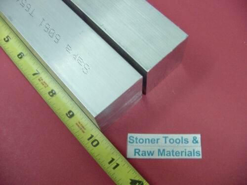 """2 Pieces 1-3//4/""""x 1-3//4/"""" ALUMINUM SQUARE 6061 FLAT BAR 10/"""" LONG SOLID Mill Stock"""
