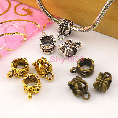 15Pcs Tibetan Silver,Gold,Bronze Charm Pendant Bail Connector Fit Bracelet M1397