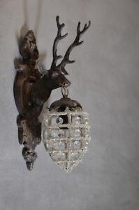 Lampe-Cerf-Applique-Murale-Mur-Corne-Cristaux-Trophee-Chasse-Orignal-Luminaire