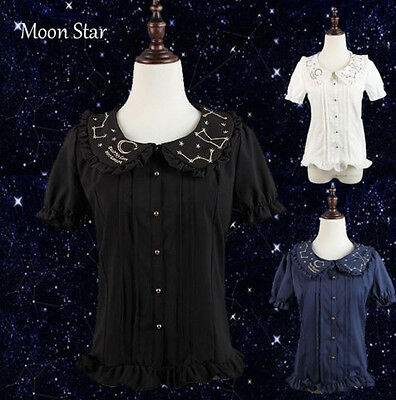 Lolita Kawaii Galaxy Constellatio Mori Girl Embroidery Moon Star Shirt Top