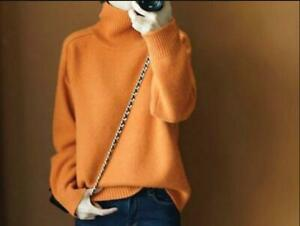 Women-039-s-Orange-Turtleneck-Cashmere-Sweater-Pullover-Loose-Warm-Knit-Top-Zsell