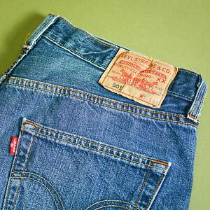 Levi 501 Jeans blau Straight Button Fly unisex Vintage (Patchw 34l32) W 32 L 30