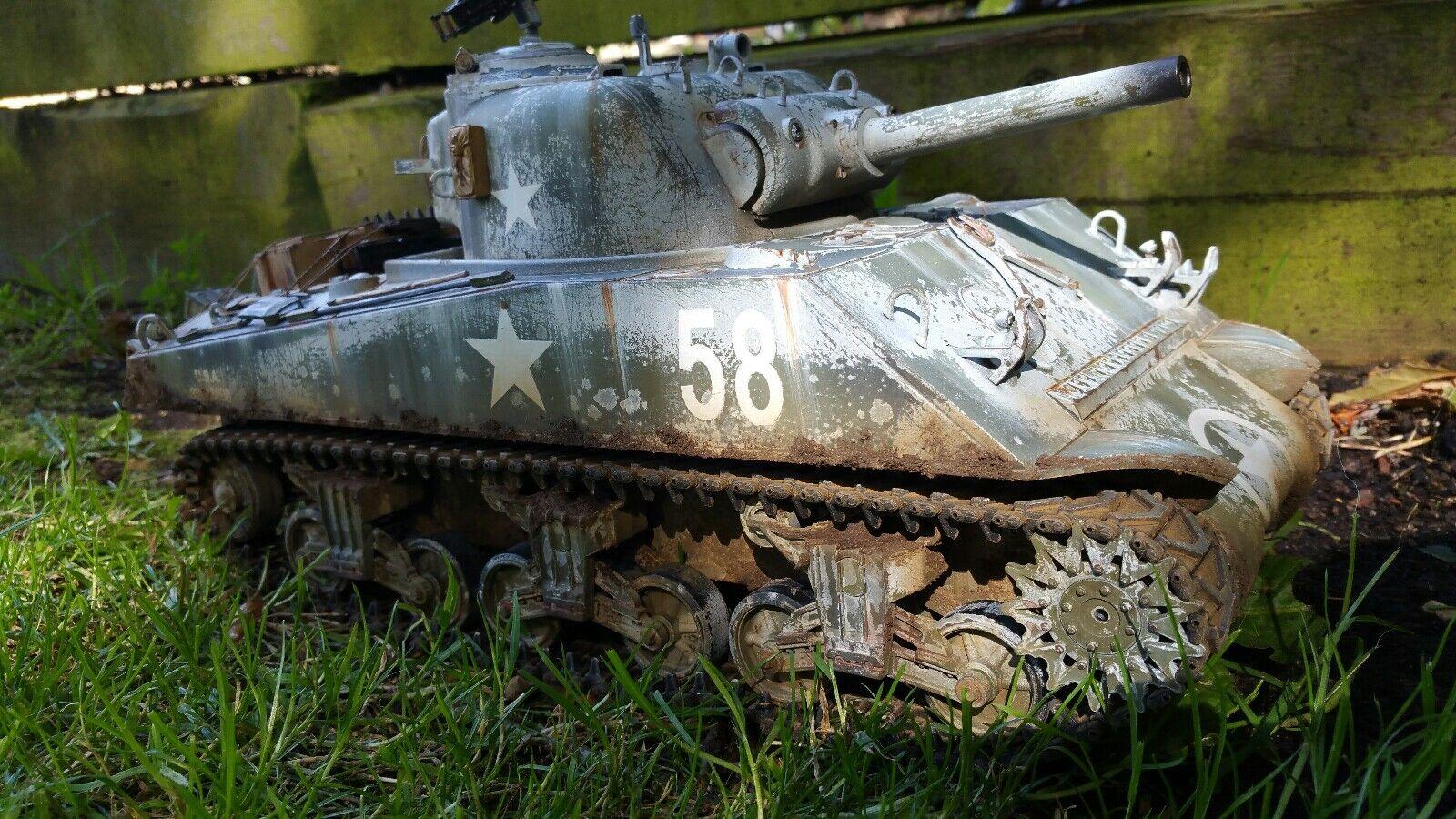Heng Long 1 16 Tanque Sherman m4a3 RC Modelo Pintado Personalizado