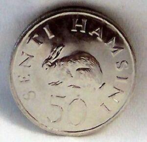 TANZANIA-RABBIT-JULIUS-NYERERE-50-SENTI-1989-COIN-uncirculated